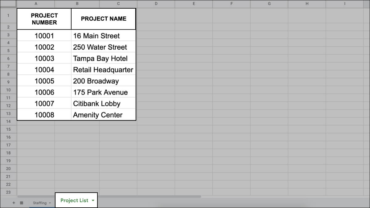 List of Architecture Project Names