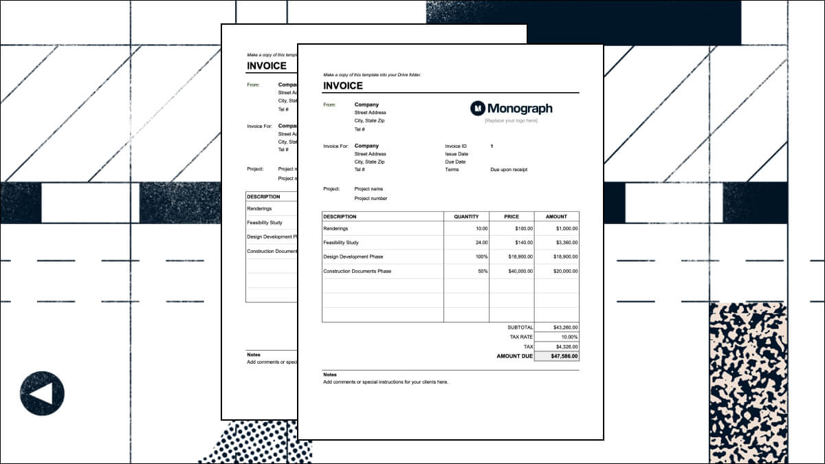Architect invoice template excel