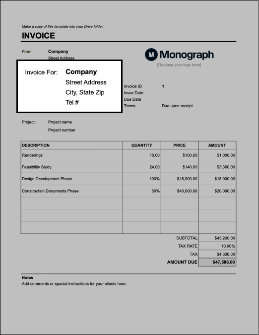 Fill in client info on architecture invoice