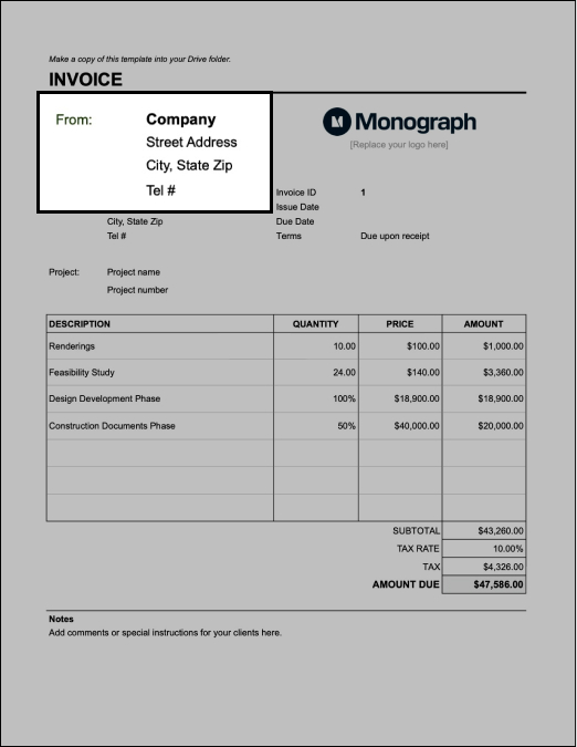 Input firm info on architecture invoice