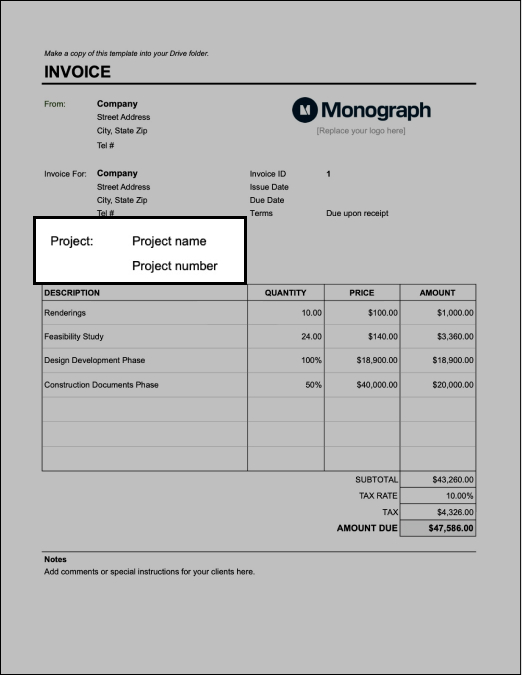 Fill in project info on architect invoice template