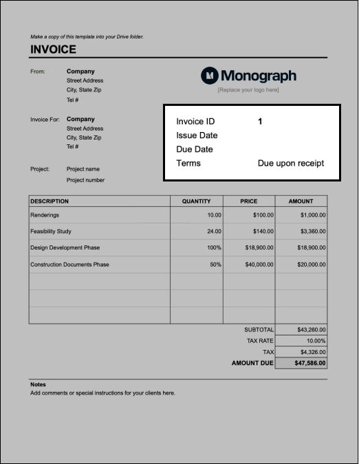 Input project terms on architect invoice template