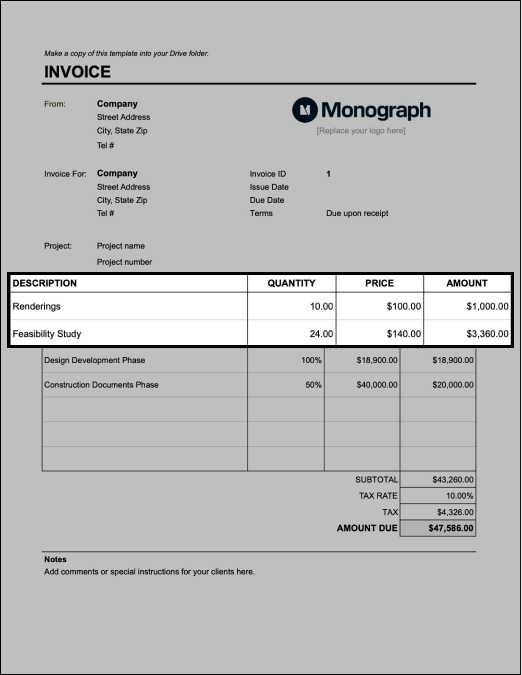 Bill architecture invoice by hour