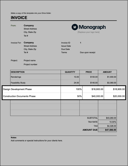 Bill architecture invoice by phase
