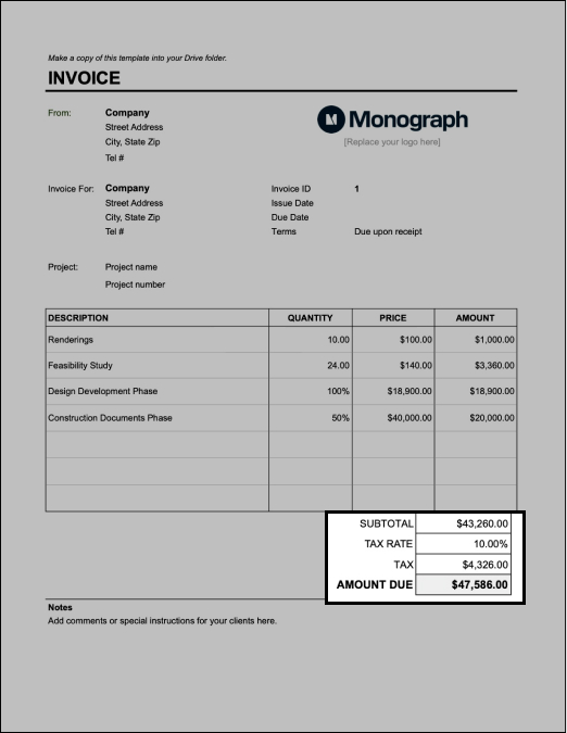 Edit tax rate on architect invoice template