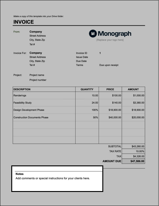Add notes on architectural design invoice