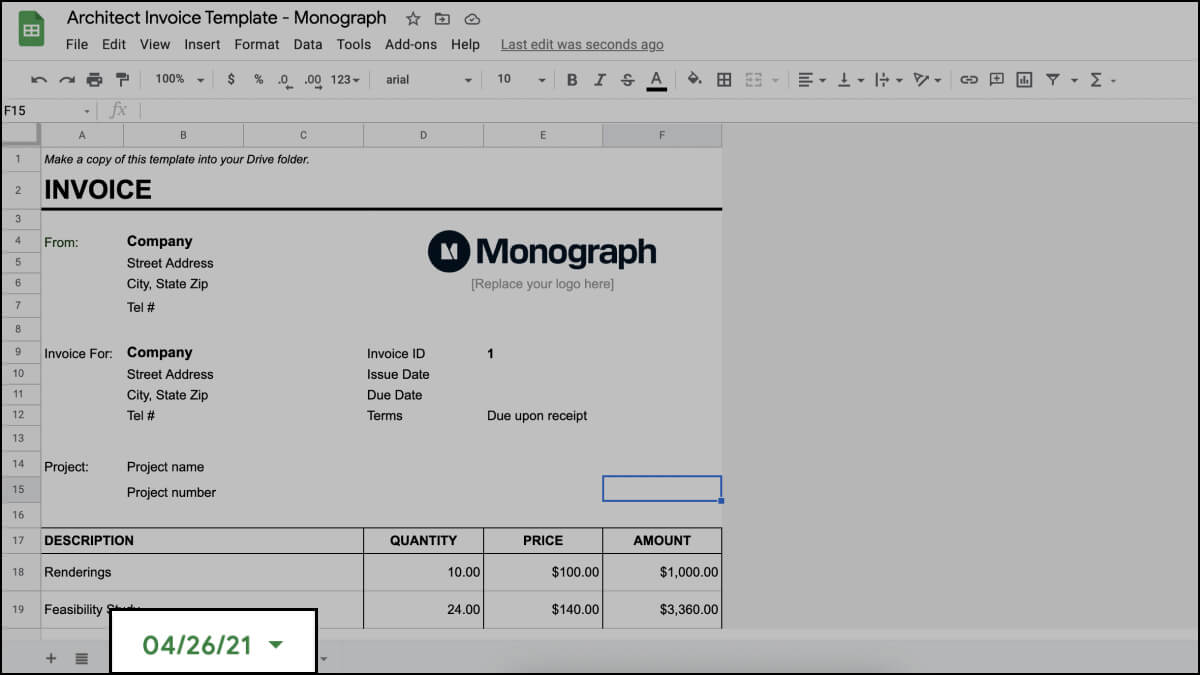Keep a record of invoices for your architecture project