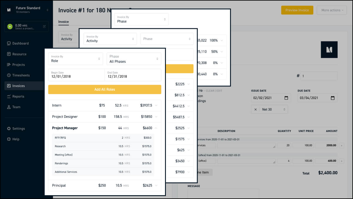 Create architect billing statement by phase, role or activity on Monograph