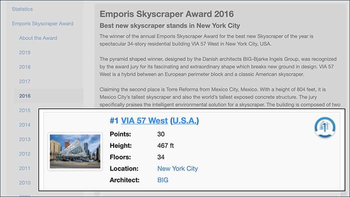 Emporis Skyscraper Award in 2016