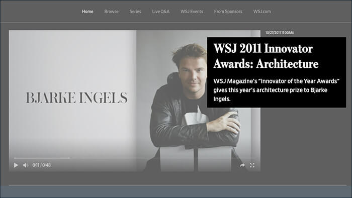 Wall Street Journal's Innovator of the Year for Architecture in 2011