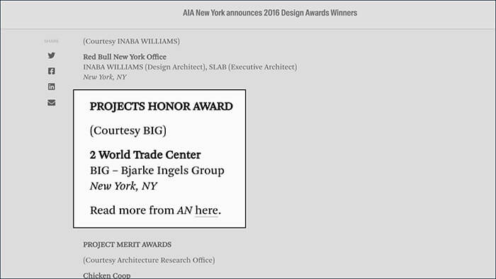 AIA New York Chapter Honor Award in 2016