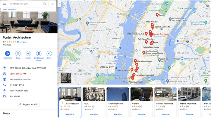Google Map Searches for Local Architects