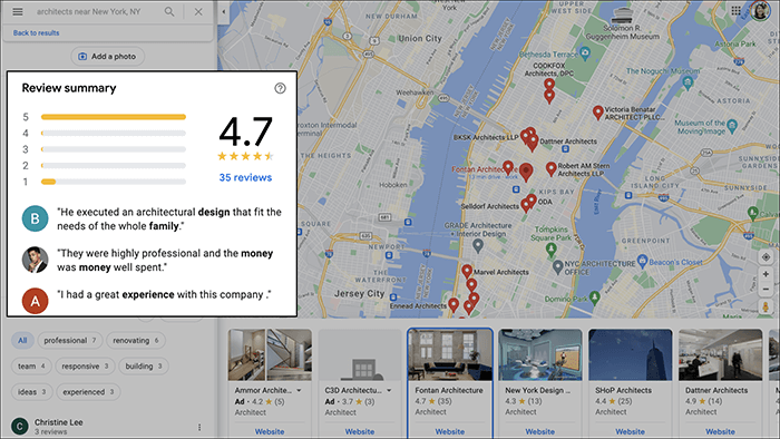 Positive Reviews for Architecture Firms on Google Maps