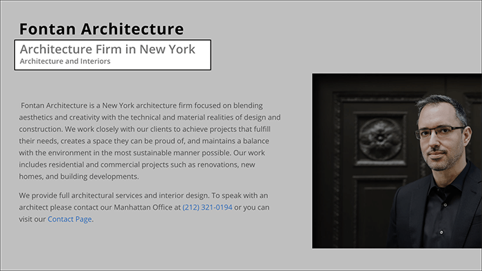Local Keywords on Architect Homepage