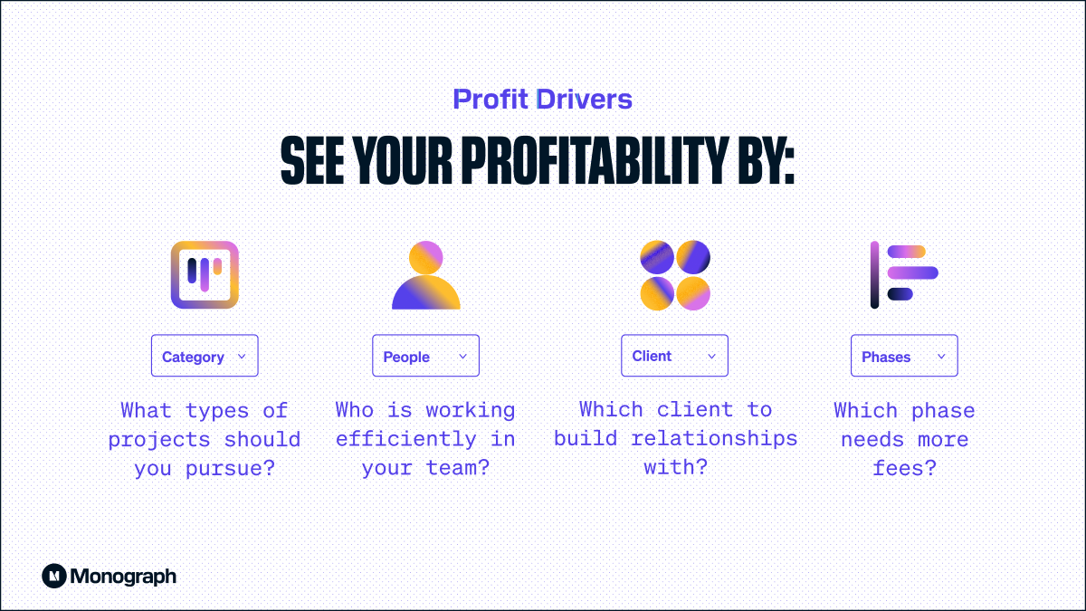 See your profitability by Category, People, Client and Phases