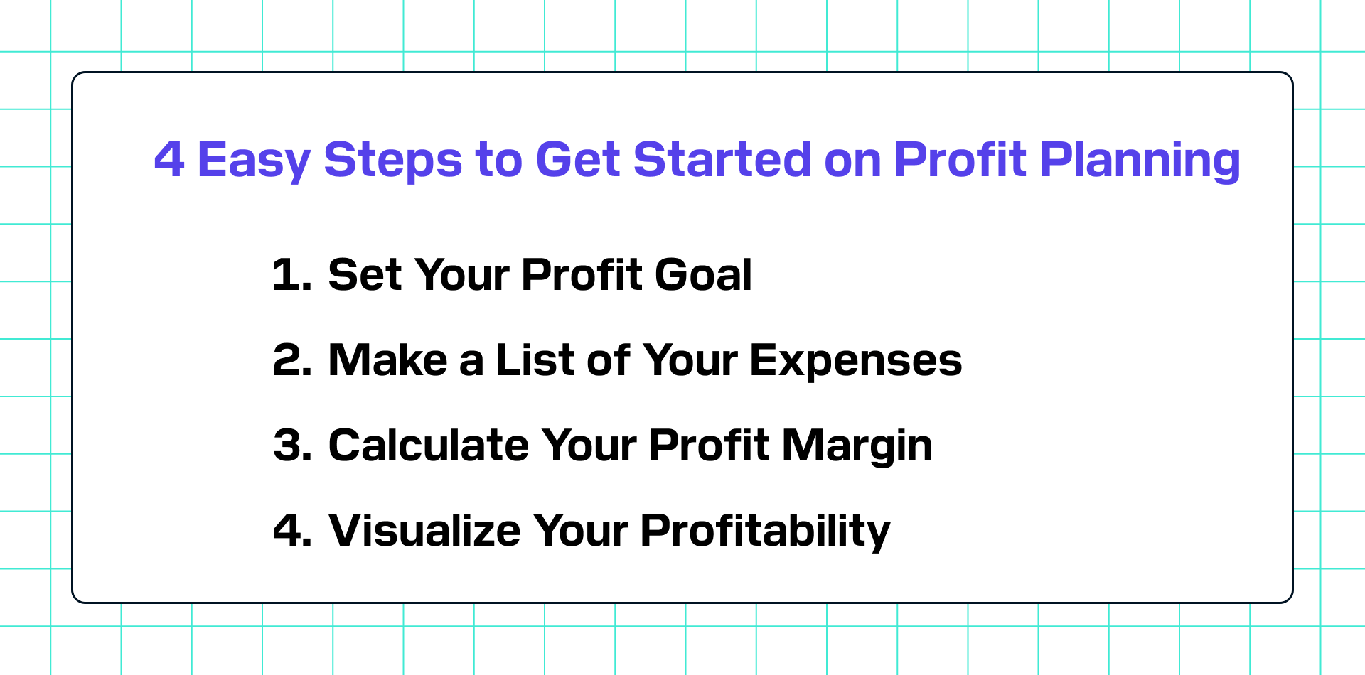 4 steps to plan your profit
