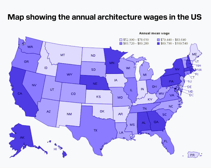 Map showing the annual architecture wages in the US