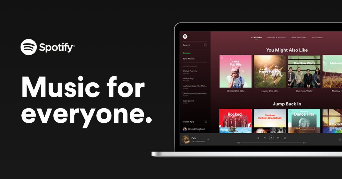 Listen to anything, anywhere, anytime with Spotify.