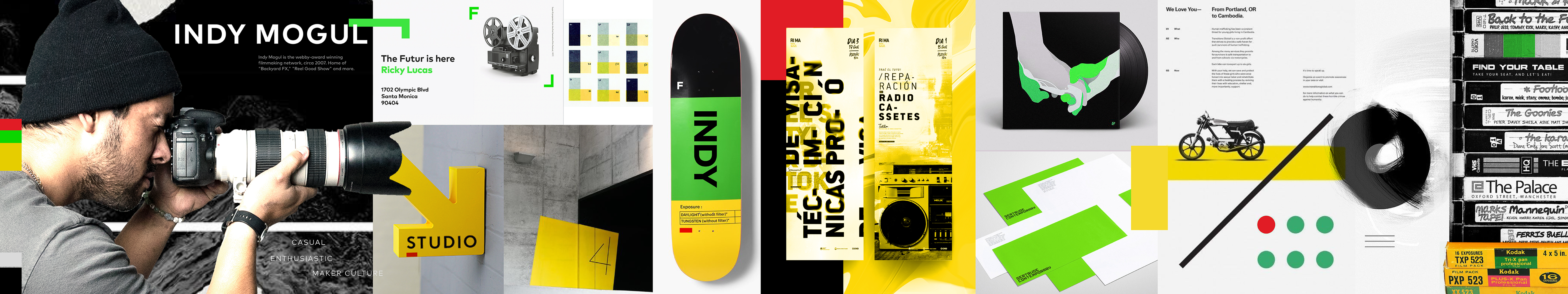 Example brand identity stylescape for Indy Mogul.