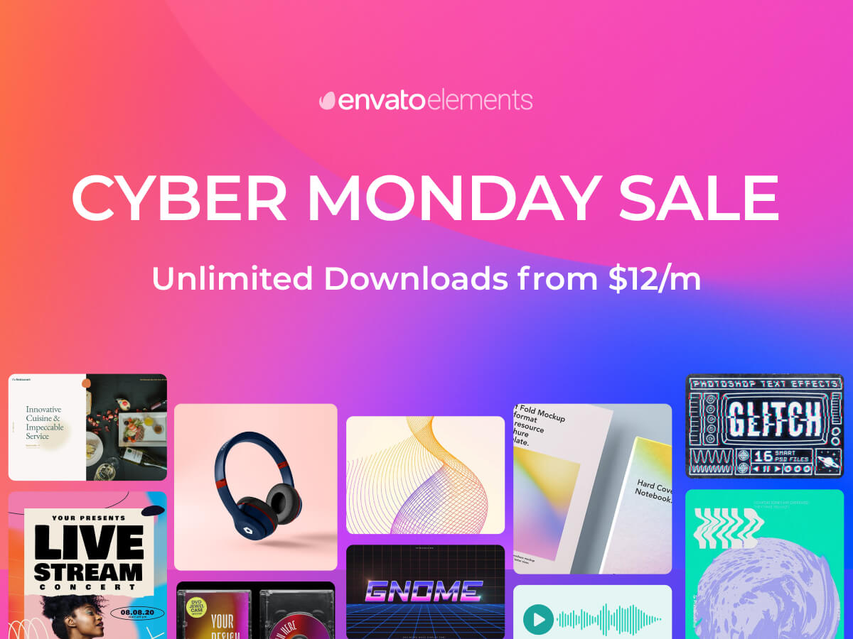 Get unlimited downloads from Envato Elements this Cyber Monday for as little as $12/month.