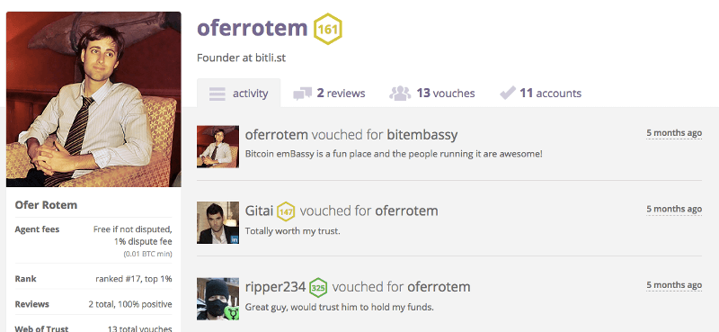 Bitratedでも活動しているOferさん https://www.bitrated.com/oferrotem