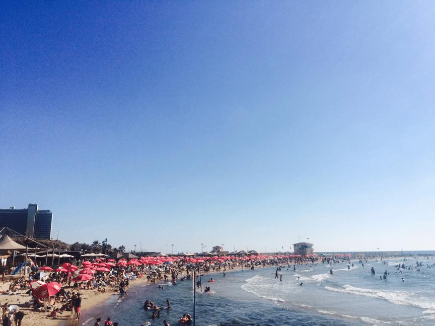 テルアビブの西岸に拡がるビーチの様子