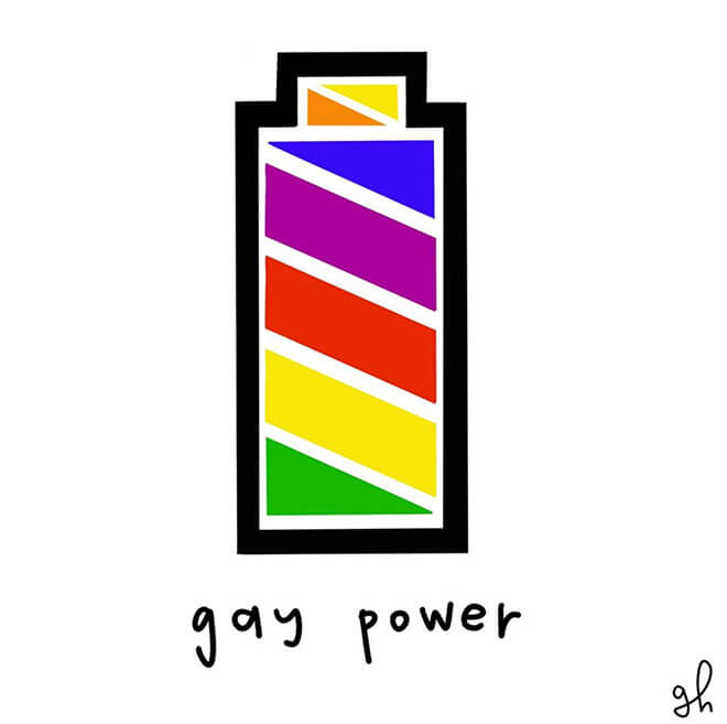 Rainbow colored battery illustration