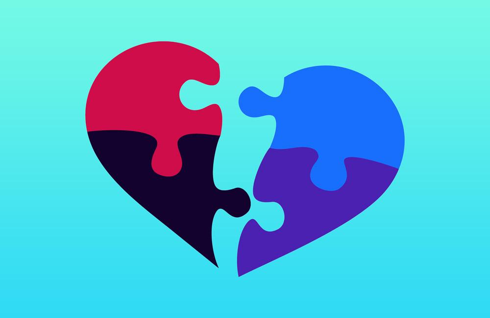 Broken heart in puzzle piece shapes.