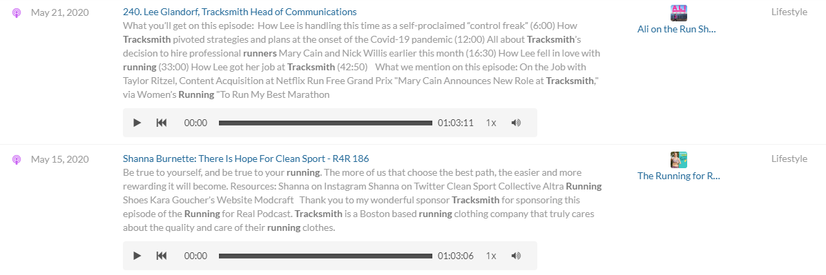 Tracksmith appearing on running podcasts