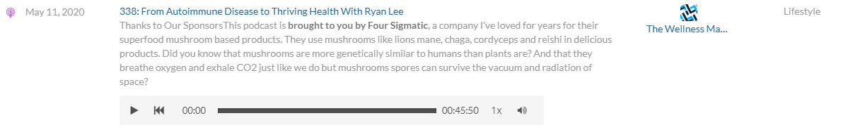 Four Sigmatic integrated podcast sponsorship