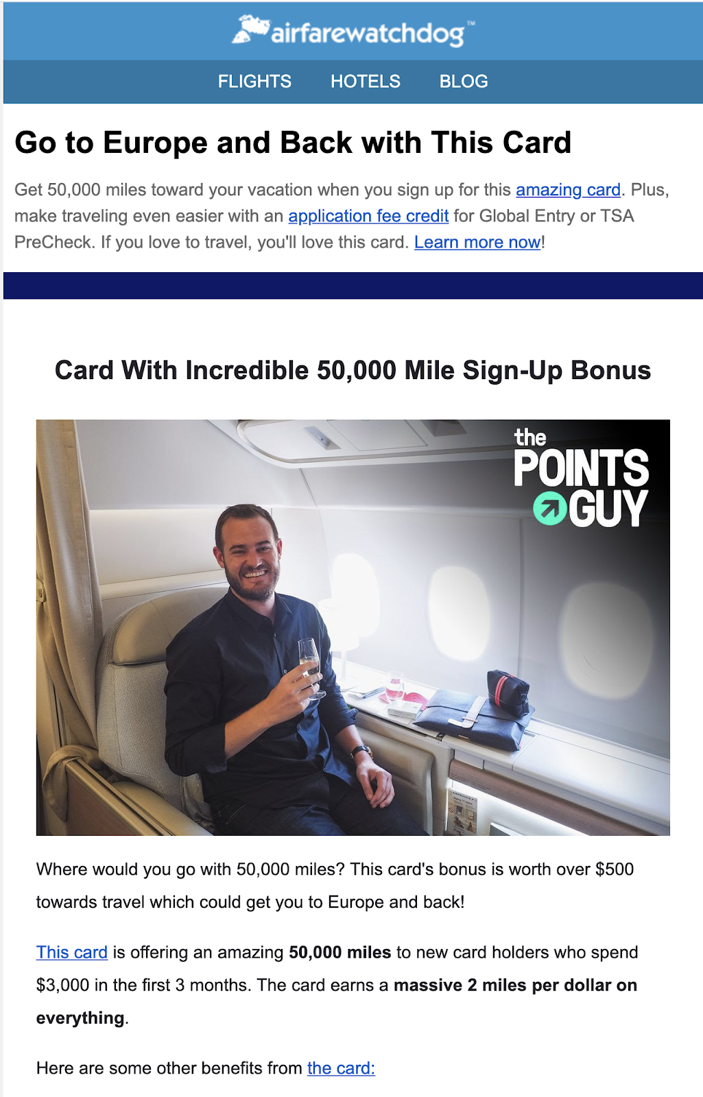 dedicated newsletter send with The Points Guy