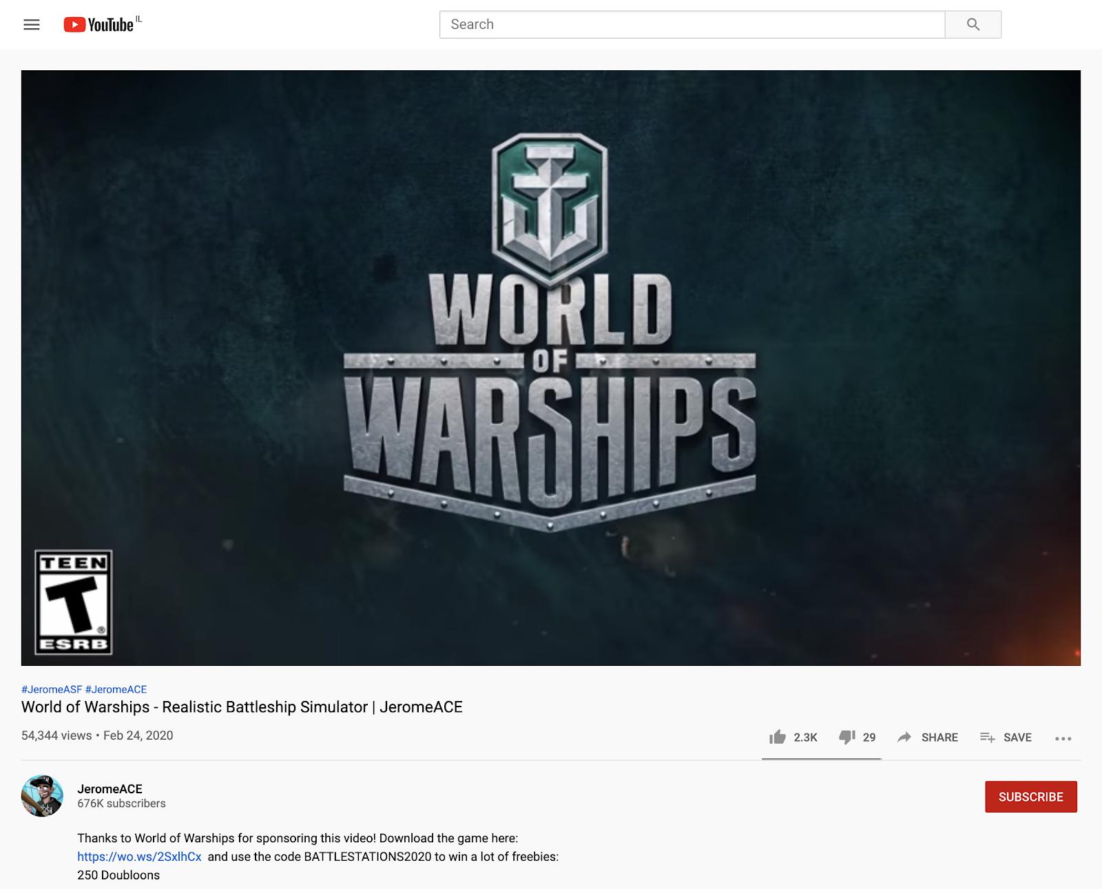 World of Warships dedicated video on YouTube