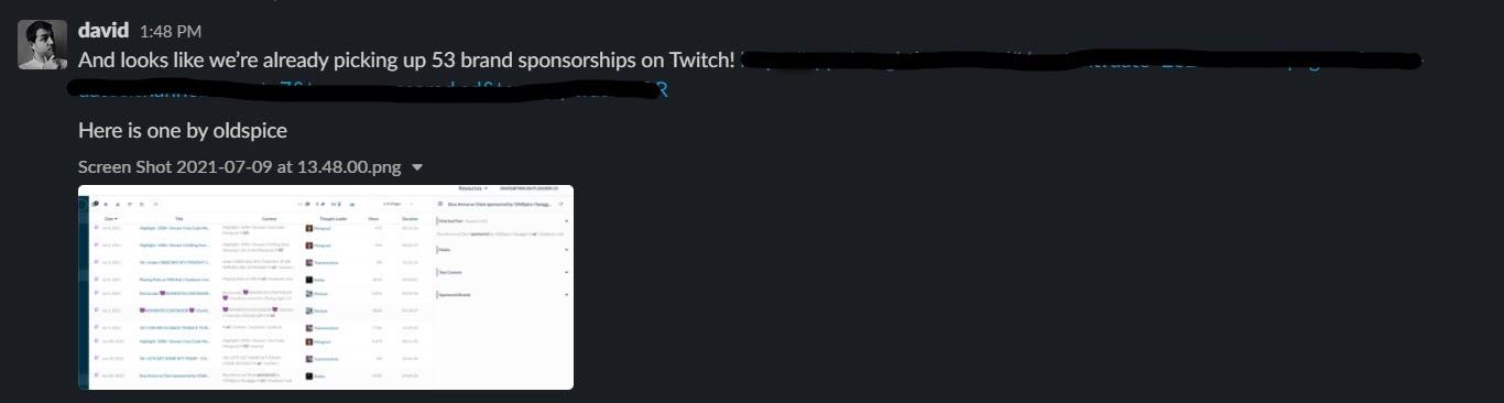 Slack message boasting 53 brand sponsorships on Twitch
