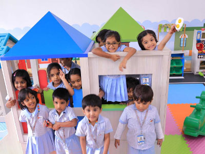 Montessori school Kindergarteners Playing in Play house at GIIS Tokyo Campus