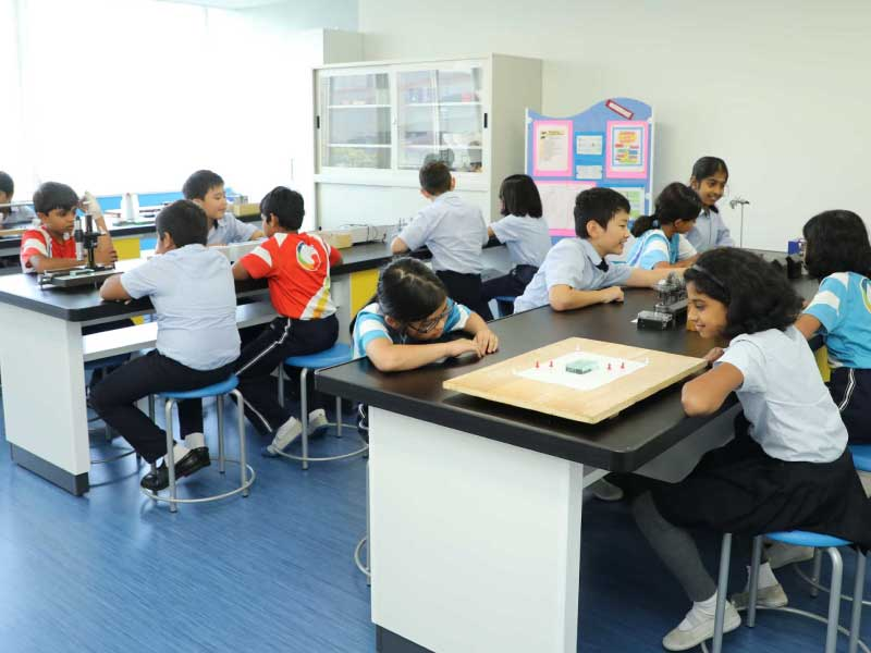 GIIS High School Students Learning in Common Area at GIIS Tokyo Higashi Kasai Campus