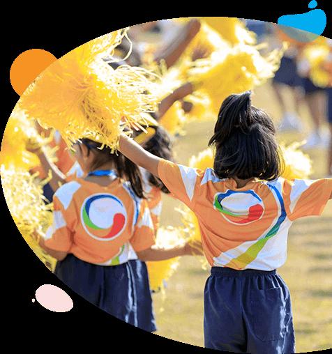 Montessori School Students participating in Sports drill activity at GIIS Nishi Kasai Campus Tokyo