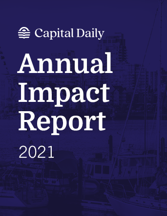Example image of the cover of Capital Daily's 2021 Annual Impact Report. Image is dark purple with Victoria's parliament.