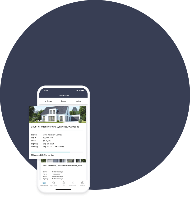 Push your listings to the finish line with our transaction dashboard