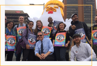 Larry Krasner with supporters