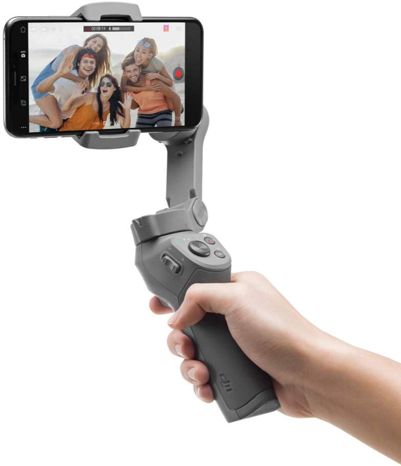 A gimbal holding a mobile phone.