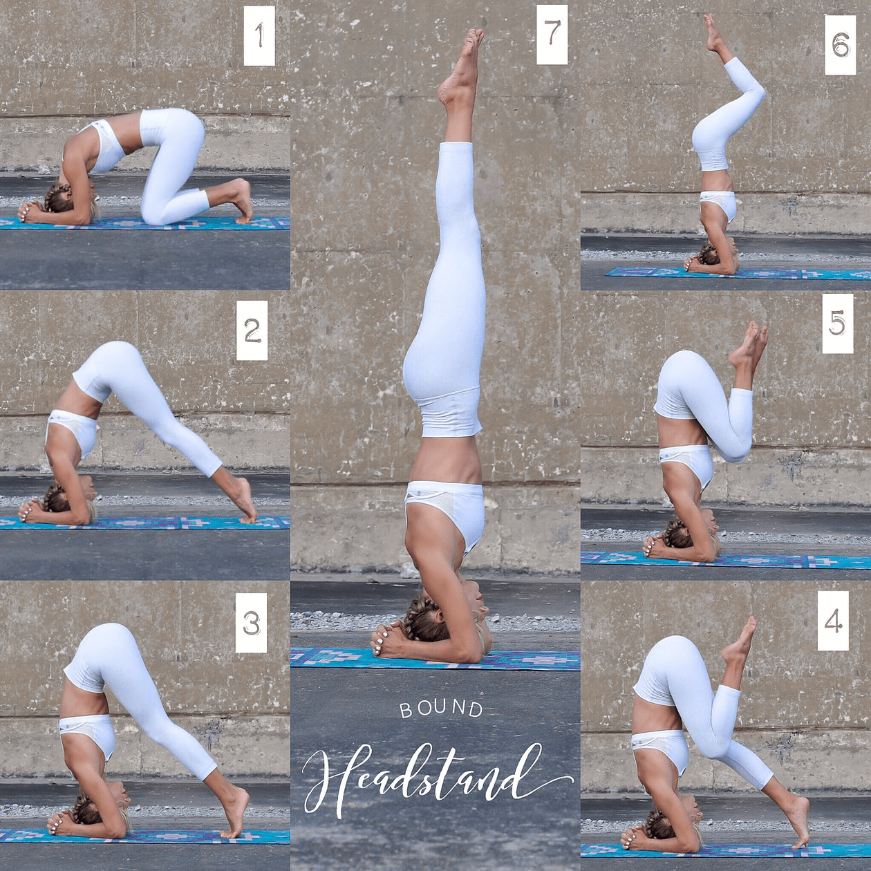 An infographic showing the 7 steps of doing a headstand.