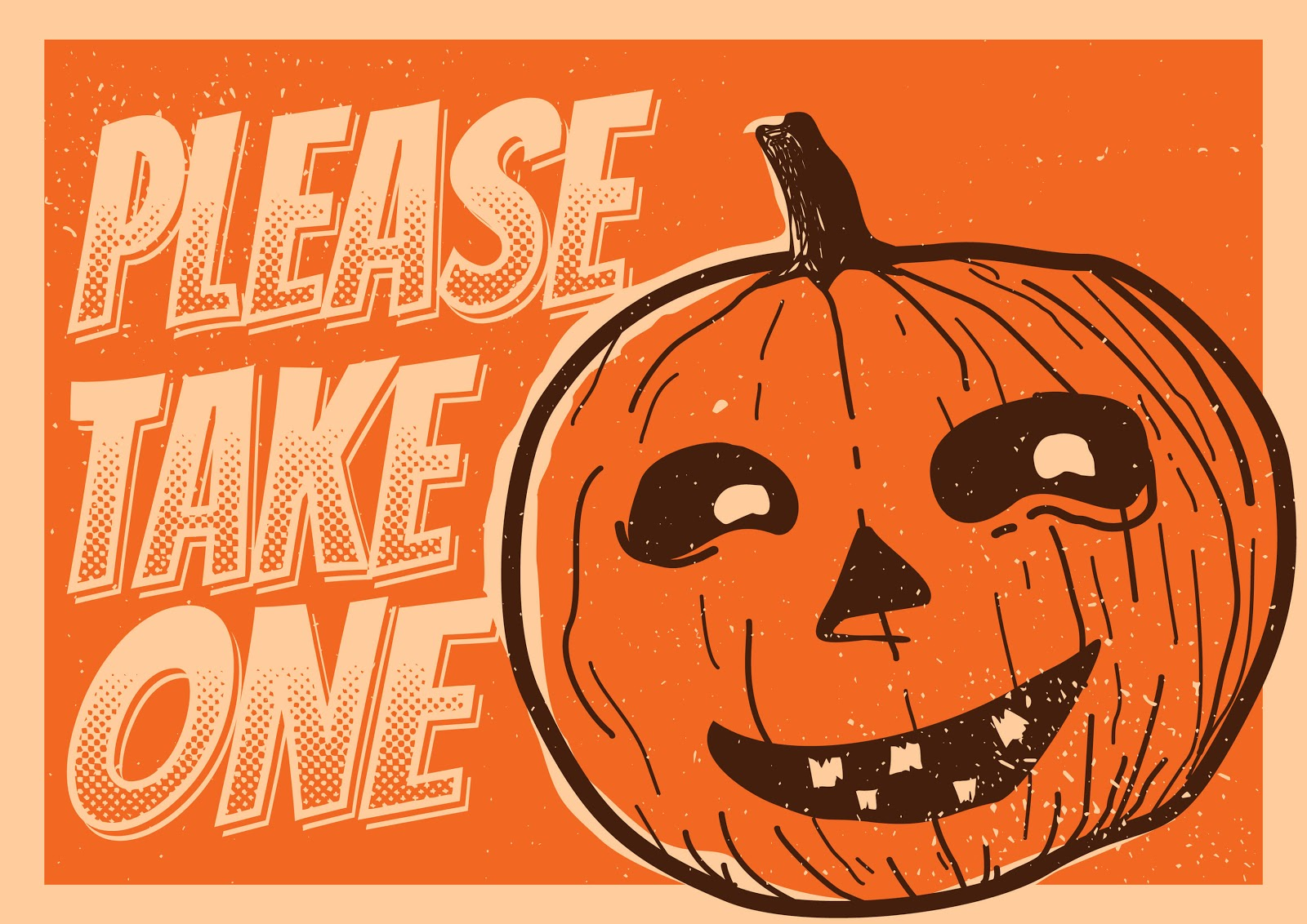 "A ""please take one"" sign with a pumpkin."