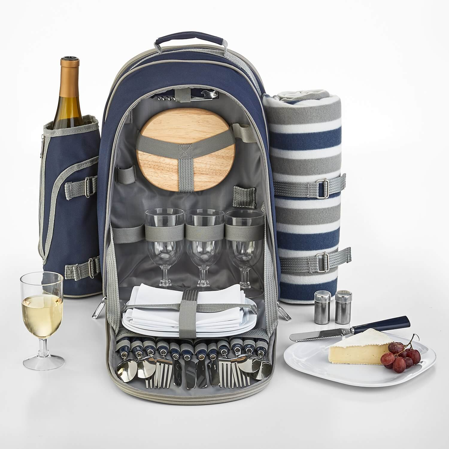 A backpack designed to carry items for a picnic.