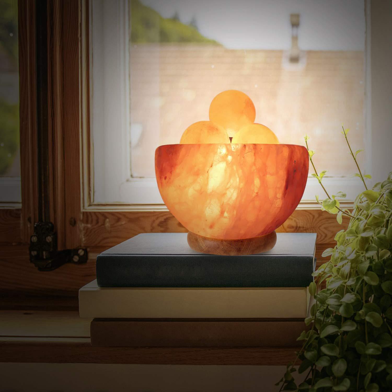 A glowing Himalayan salt bowl.