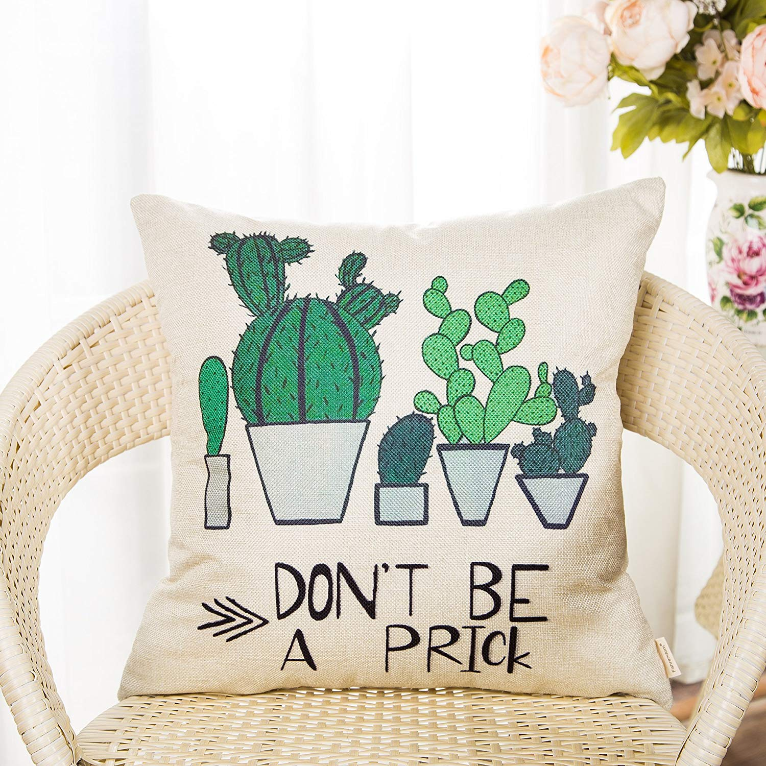 "A throw pillow with pictures of a cactus and the text ""Don't be a prick."""