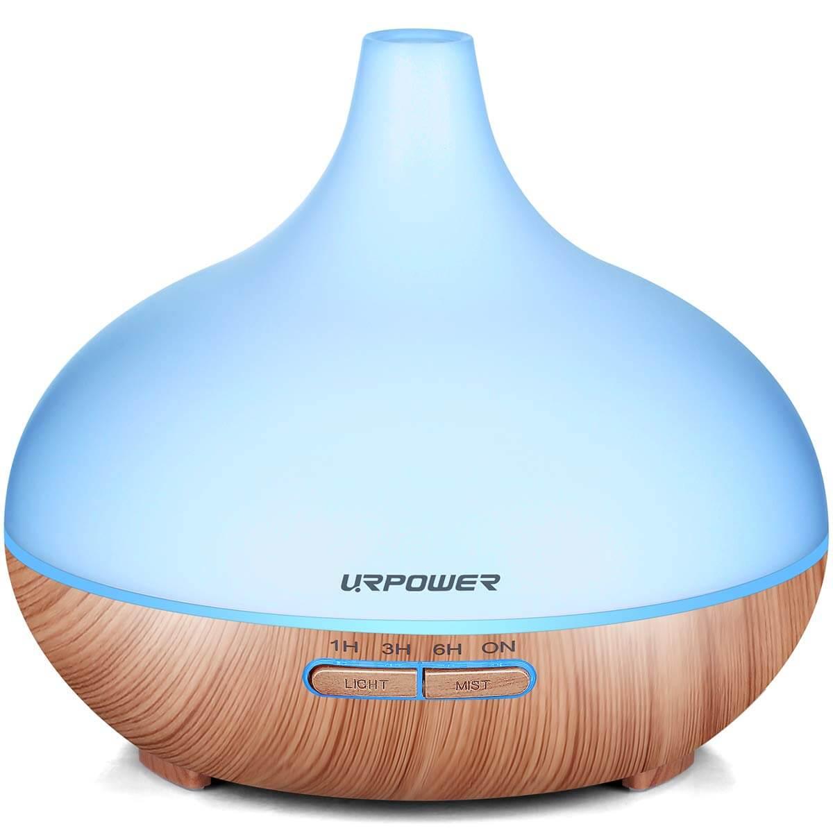 A blue oil diffuser.
