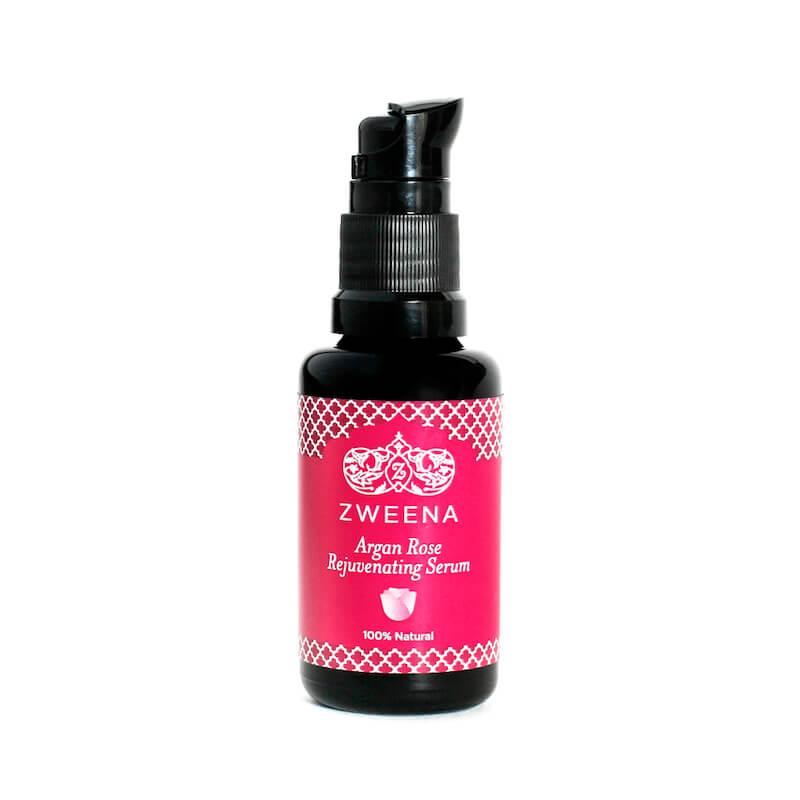 A bottle of Zweena Argan Rose Rejuvenating Serum.