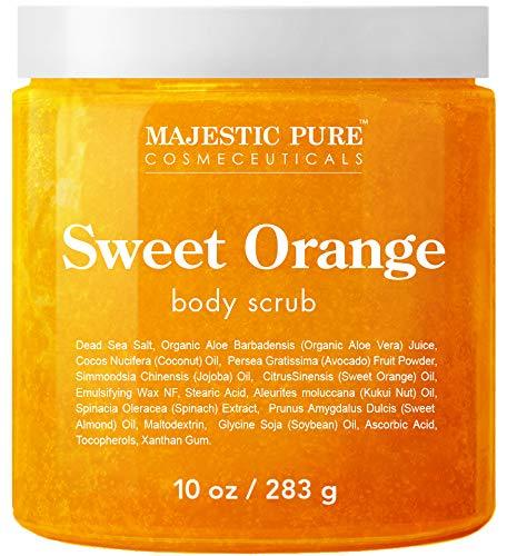 A close up of the Majestic Pure Sweet Orange Body Scrub.