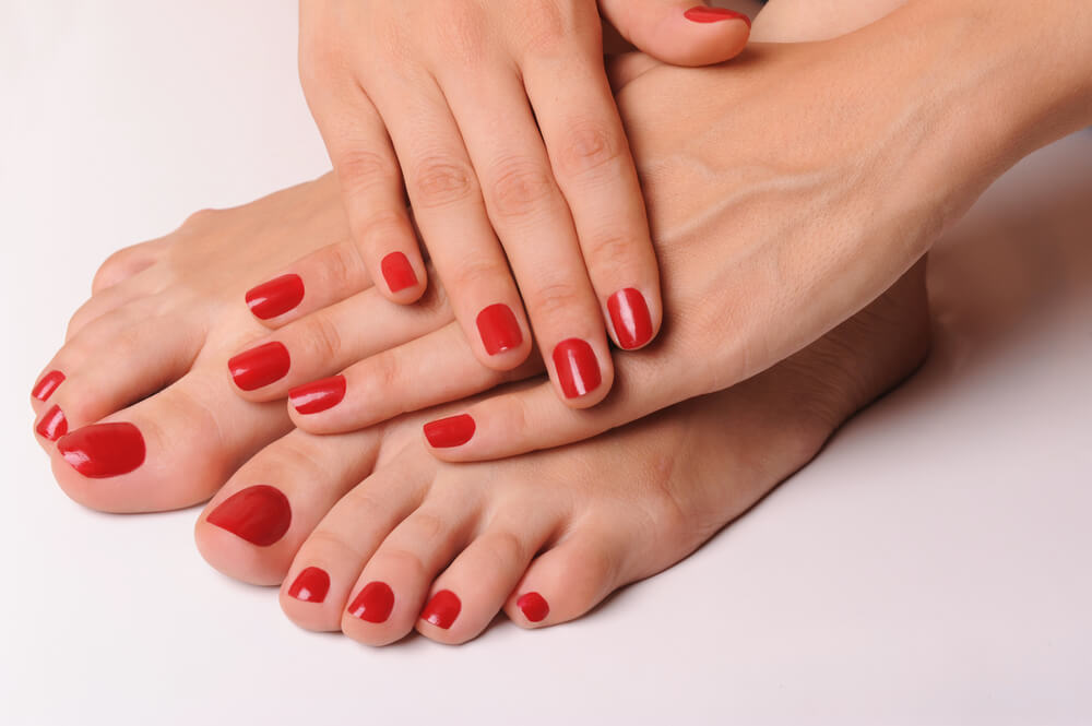 red painted fingers and toes