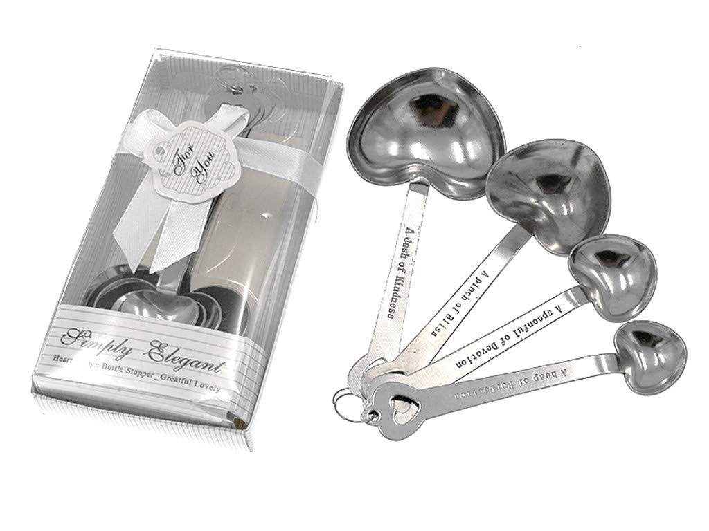 Heart Measuring Spoons with engravings on the handles.
